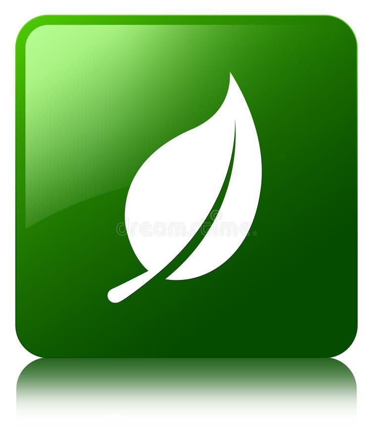 Bottone del quadrato di verde dell'icona della foglia illustrazione di stock