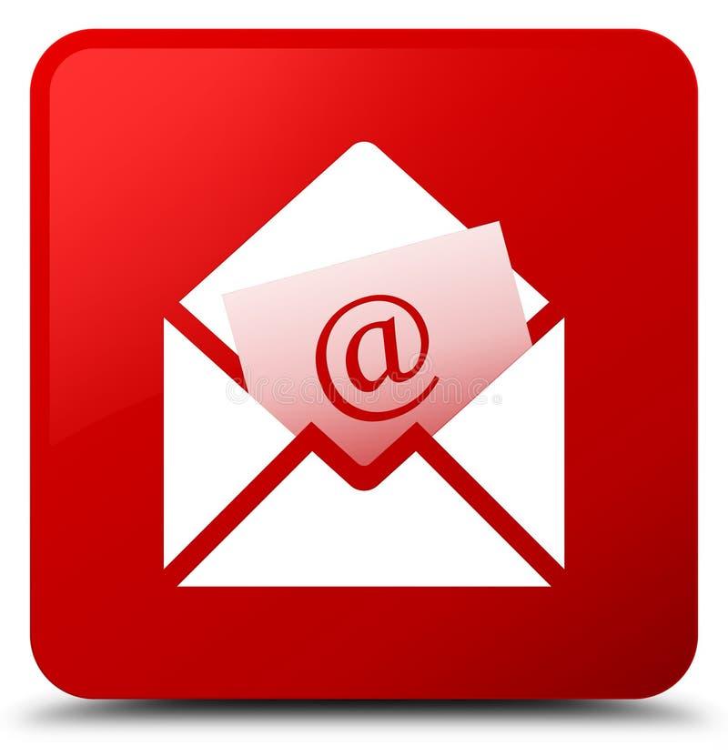 Bottone del quadrato rosso dell'icona del email del bollettino royalty illustrazione gratis
