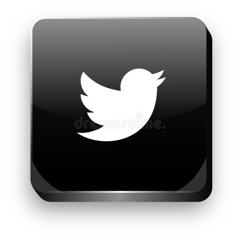 Bottone dell'icona 3d di Twitter illustrazione di stock