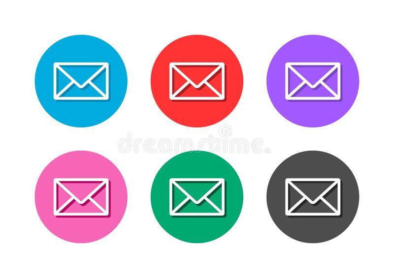 Bottone dell'icona della posta illustrazione di stock