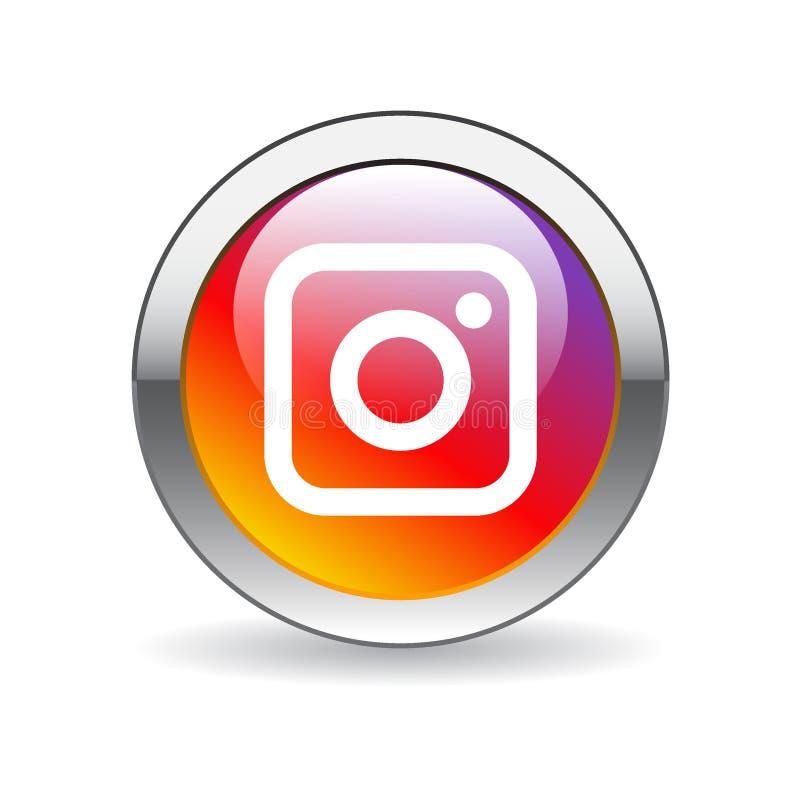 Bottone dell'icona di Instagram royalty illustrazione gratis
