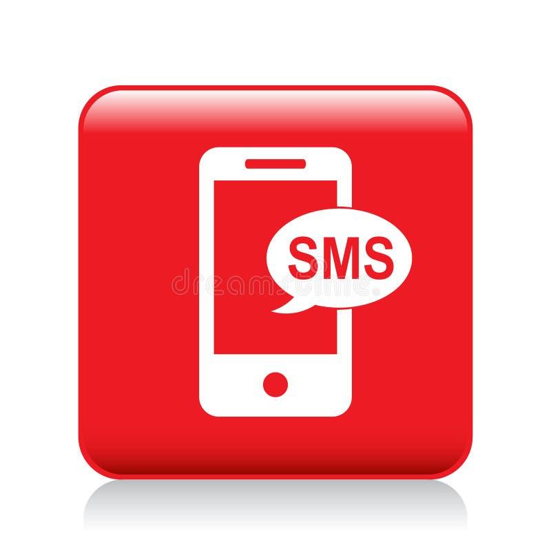 Bottone dell'icona di Sms illustrazione di stock