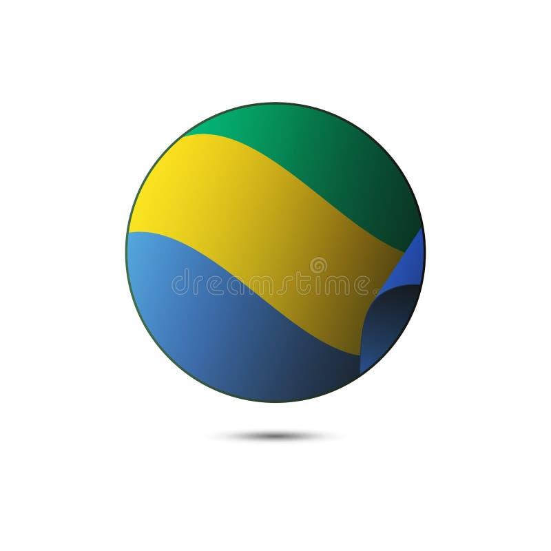 Bottone della bandiera del Gabon con ombra su un fondo bianco Vettore illustrazione vettoriale