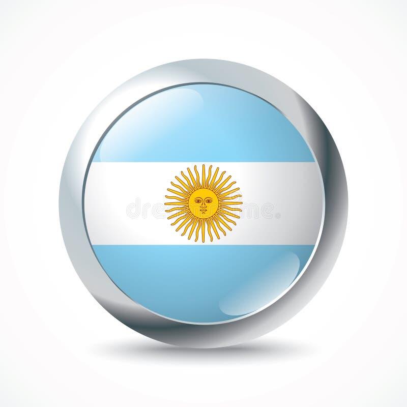 Bottone della bandiera dell'Argentina illustrazione di stock
