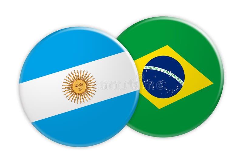 Bottone della bandiera dell'Argentina sul bottone della bandiera del Brasile, illustrazione 3d su fondo bianco illustrazione di stock