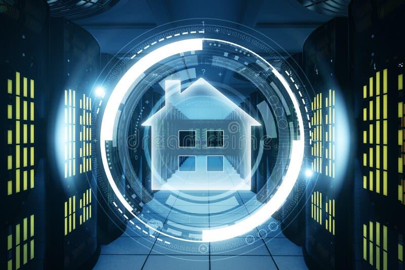 Bottone della casa intelligente immagini stock libere da diritti