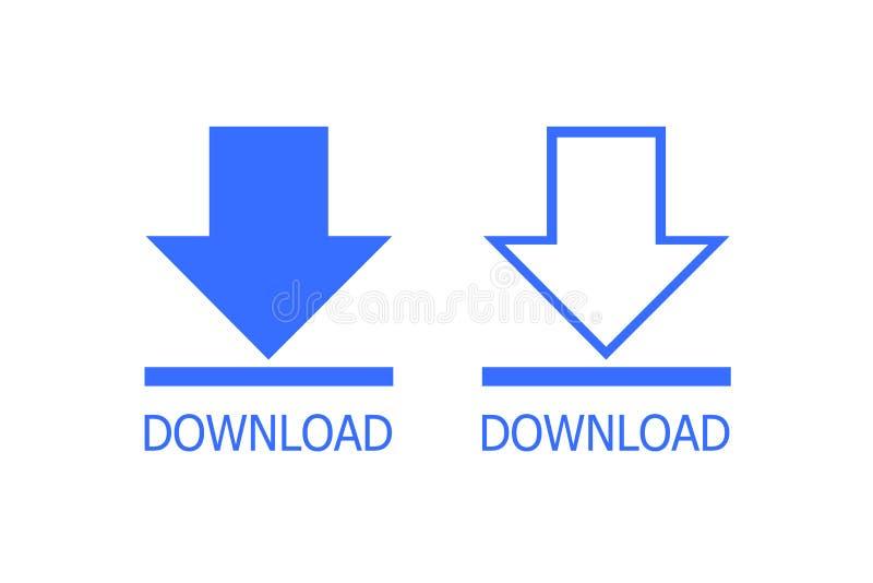 Bottone della freccia di download illustrazione di stock