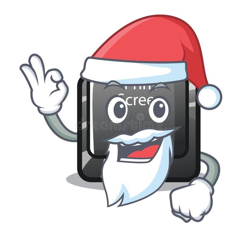 Bottone della stampa di Santa sulla tastiera del fumetto illustrazione vettoriale