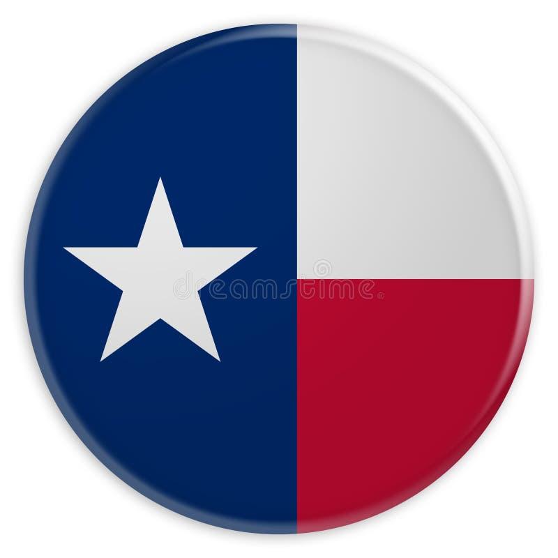 Bottone dello stato USA: Illustrazione di Texas Flag Badge 3d su fondo bianco illustrazione di stock