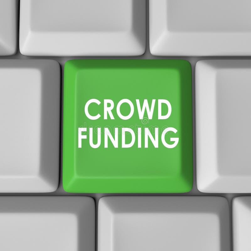 Bottone di chiave di tastiera del computer di finanziamento della folla illustrazione di stock