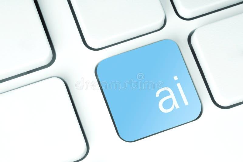 Bottone di intelligenza artificiale sulla tastiera fotografia stock