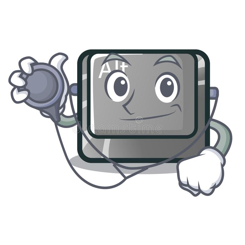 Bottone di medico alt nella forma del fumetto illustrazione di stock