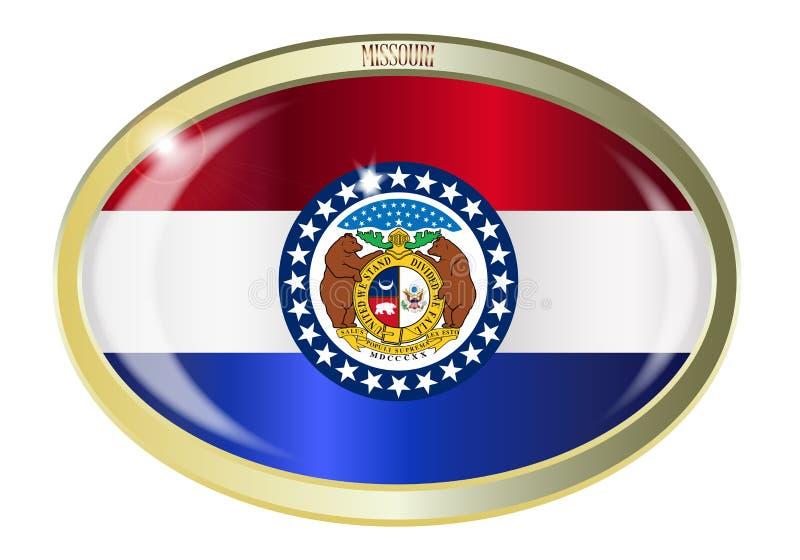 Bottone di ovale della bandiera dello stato del Missouri illustrazione vettoriale