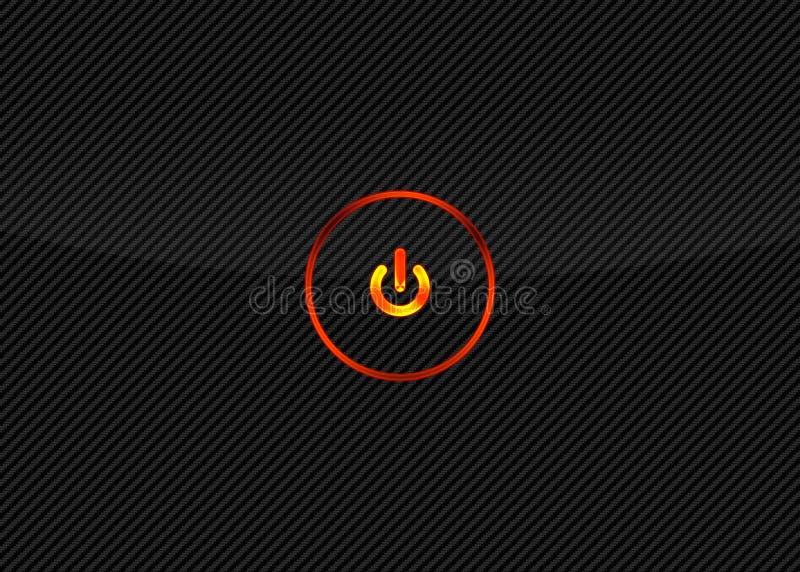 Bottone di potenza sul fondo della fibra del carbonio illustrazione vettoriale