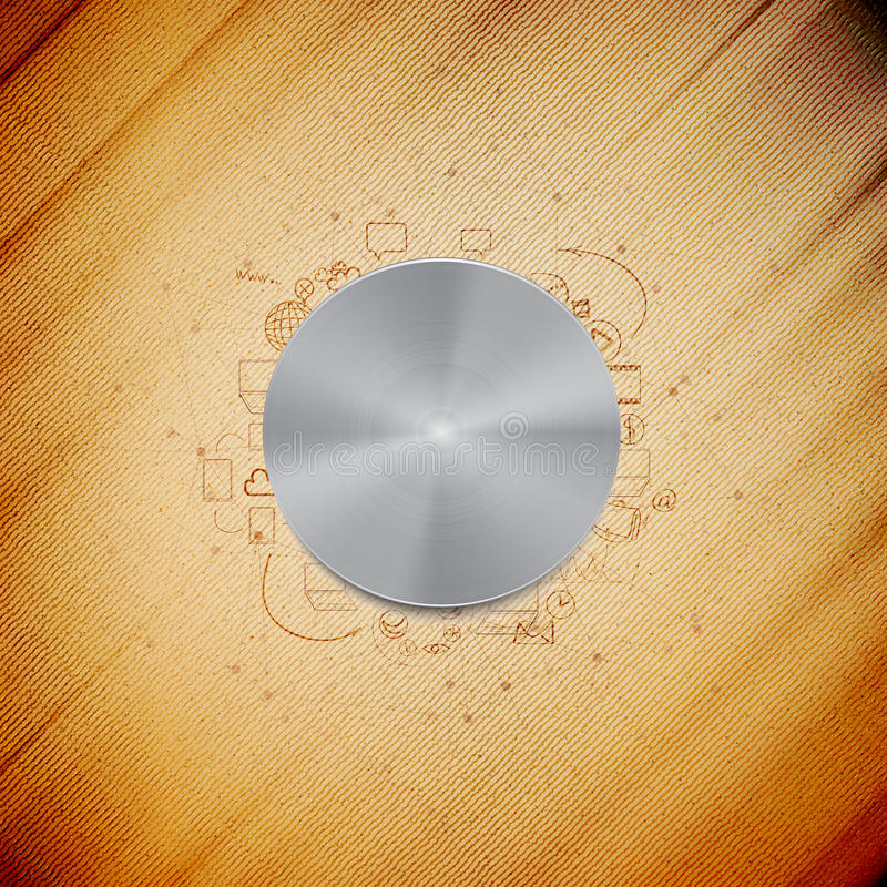 Bottone di potere del metallo con l'altra progettazione di scarabocchio illustrazione vettoriale
