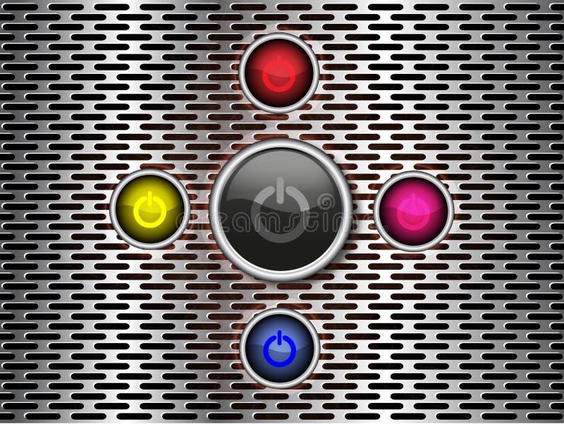 Bottone di potere sul fondo del metallo royalty illustrazione gratis
