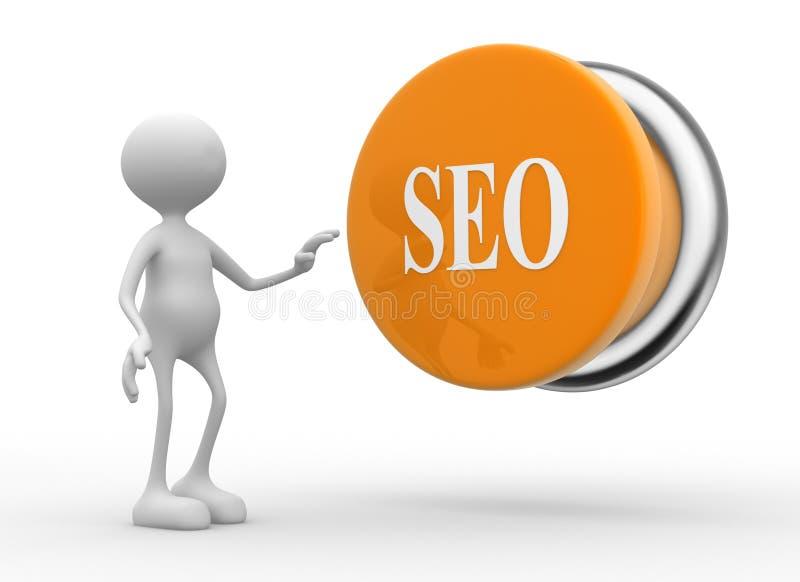 Bottone di Seo (ottimizzazione del motore di ricerca). illustrazione di stock