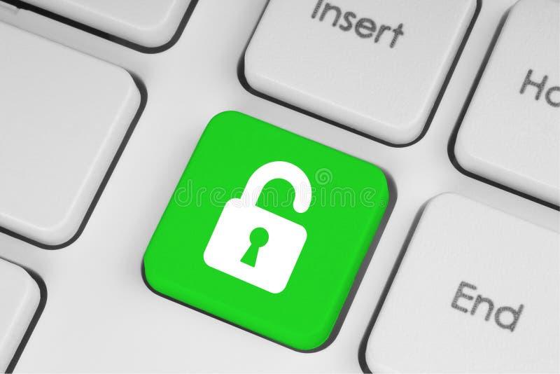 Bottone di verde della serratura aperta immagini stock