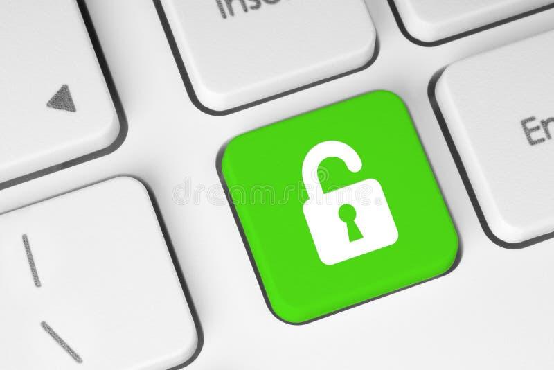Bottone di verde della serratura aperta fotografia stock