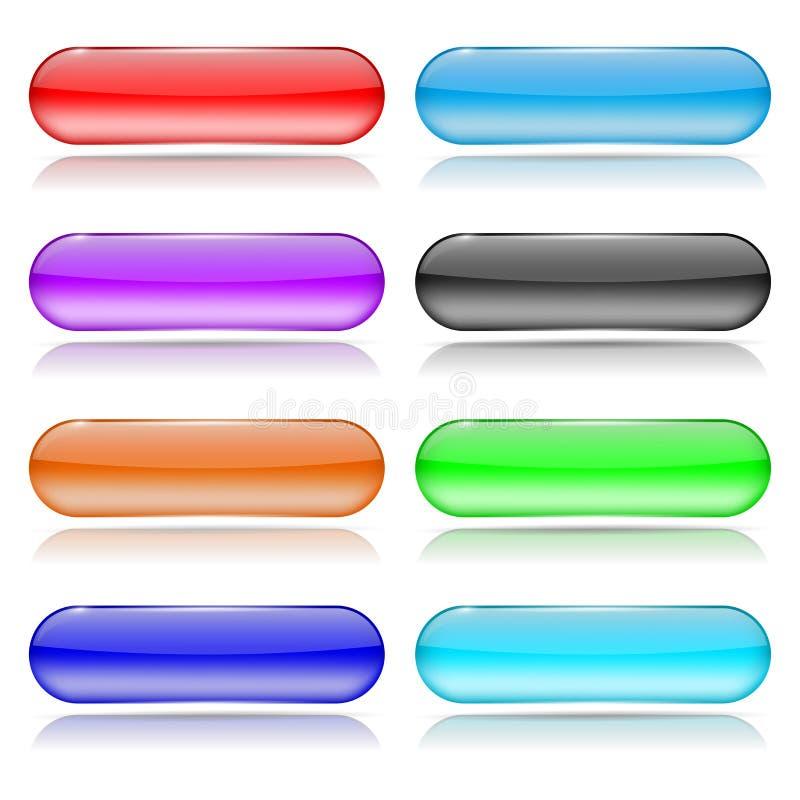 Bottone di vetro con la riflessione Insieme delle icone brillanti di web 3d dei coloreds illustrazione vettoriale