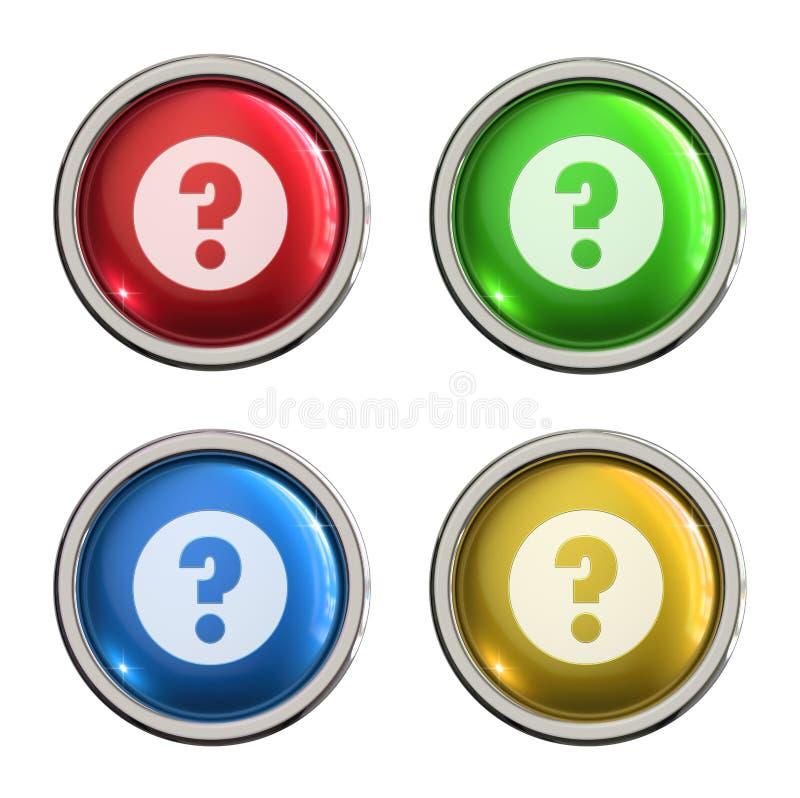 Bottone di vetro dell'icona del punto interrogativo illustrazione di stock