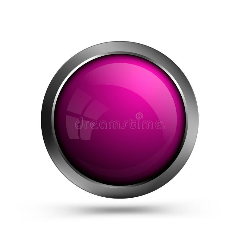 Bottone di vetro rosa isolato su fondo bianco illustrazione vettoriale