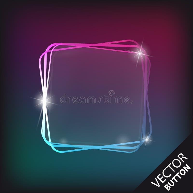 Bottone di vetro trasparente di riflessione isolato sopra fondo variopinto moderno - illustrazione di vettore illustrazione vettoriale
