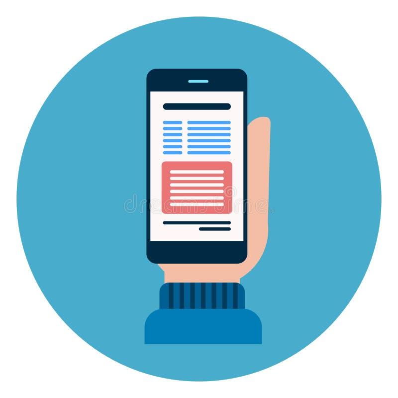 Bottone di web dell'icona dello Smart Phone delle cellule della tenuta della mano su fondo blu rotondo royalty illustrazione gratis