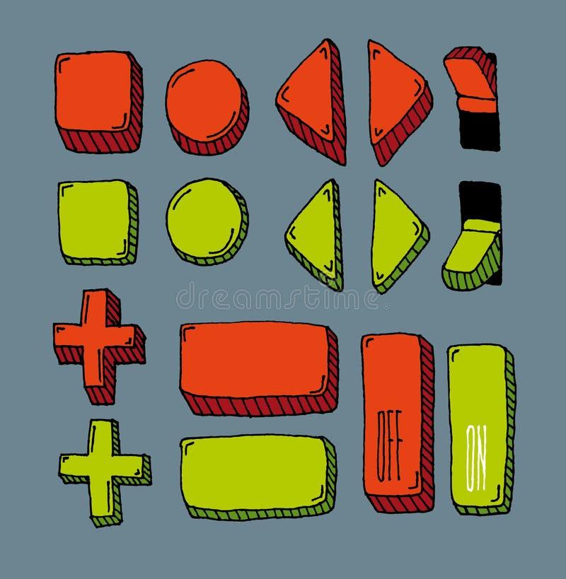 Bottone disegnato a mano del Internet messo (colore) royalty illustrazione gratis