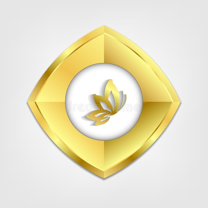 Bottone dorato di vettore con l'icona della farfalla illustrazione di stock