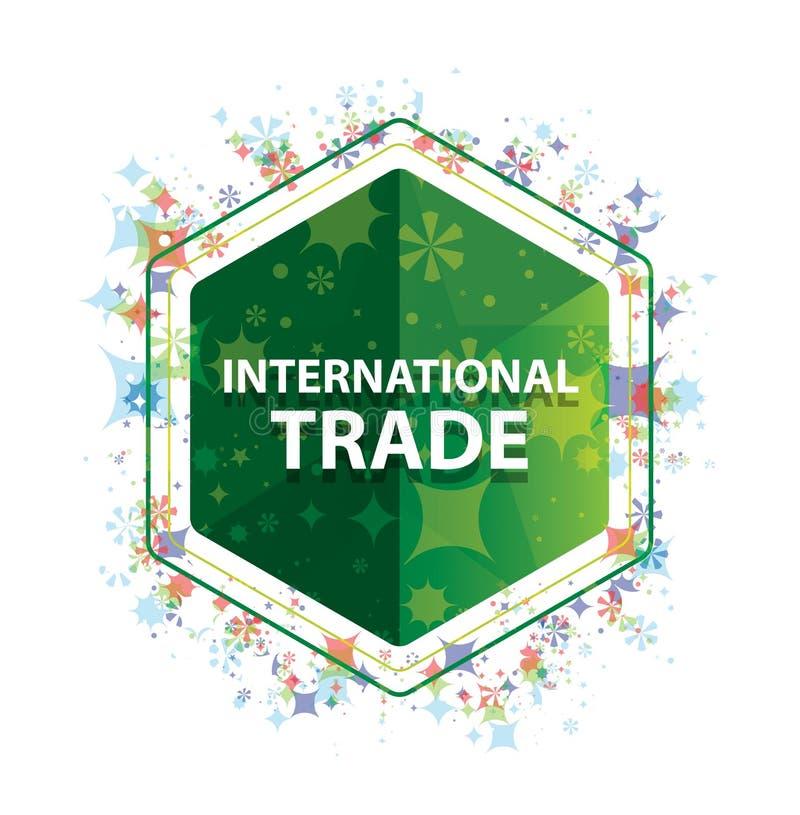Bottone floreale di esagono di verde del modello delle piante del commercio internazionale illustrazione vettoriale