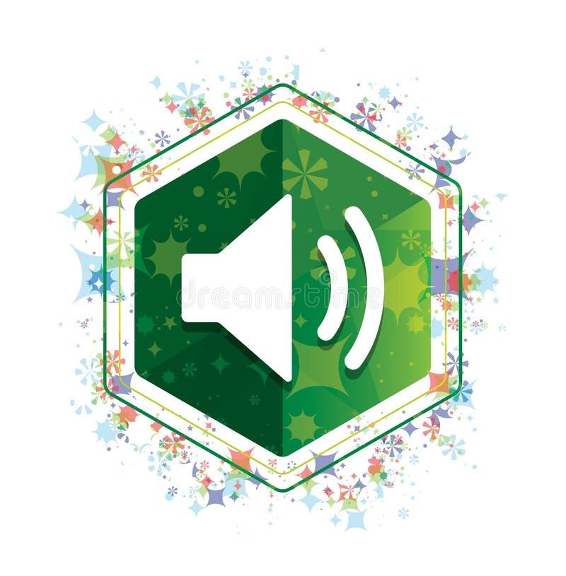 Bottone floreale di esagono di verde del modello delle piante dell'icona dell'altoparlante del volume illustrazione vettoriale