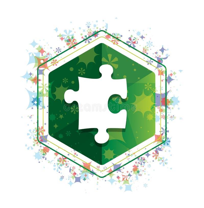 Bottone floreale di esagono di verde del modello delle piante dell'icona di puzzle illustrazione vettoriale