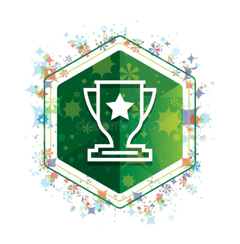 Bottone floreale di esagono di verde del modello delle piante dell'icona del trofeo illustrazione di stock