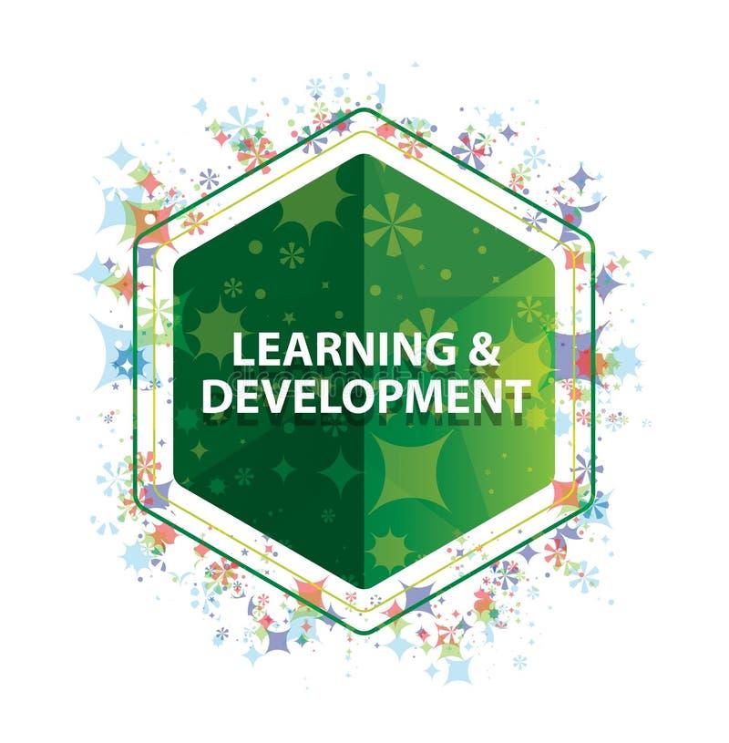 Bottone floreale di esagono di verde del modello delle piante di sviluppo & di apprendimento royalty illustrazione gratis