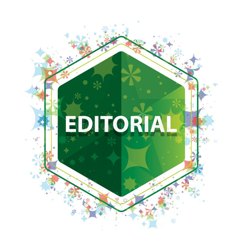 Bottone floreale editoriale di esagono di verde del modello delle piante illustrazione di stock