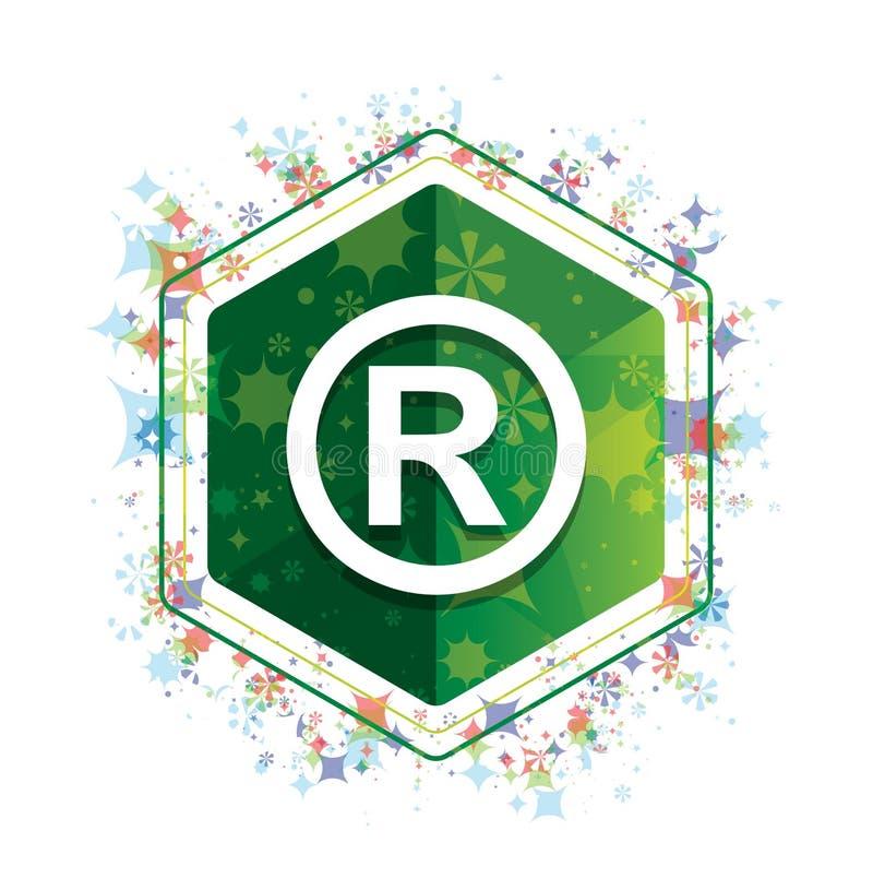 Bottone floreale registrato di esagono di verde del modello delle piante dell'icona di simbolo royalty illustrazione gratis