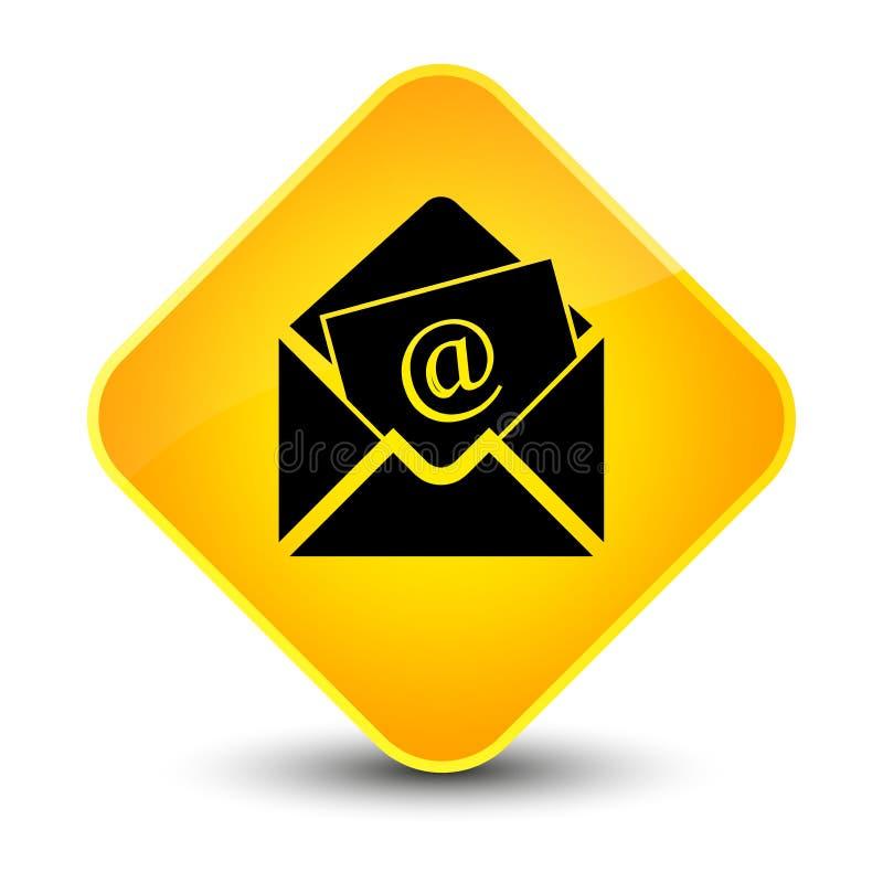 Bottone giallo elegante del diamante dell'icona del email del bollettino royalty illustrazione gratis