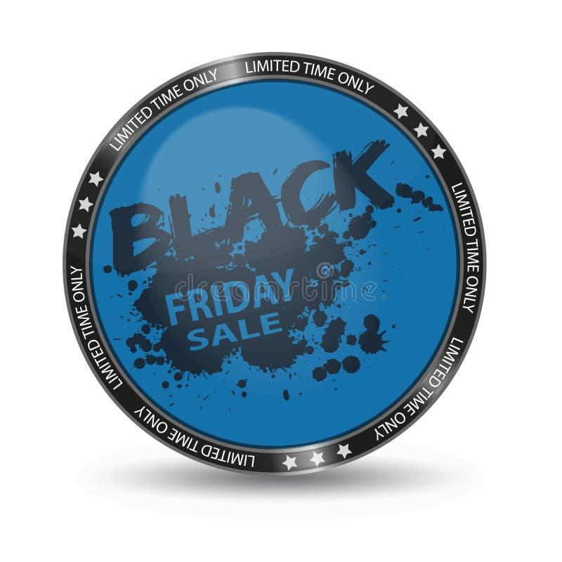 Bottone lucido di vendita di Black Friday - illustrazione blu di vettore - isolato su fondo bianco royalty illustrazione gratis