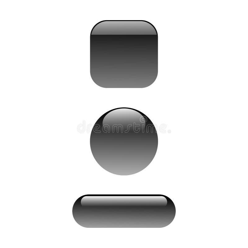 Bottone lucido nero illustrazione vettoriale