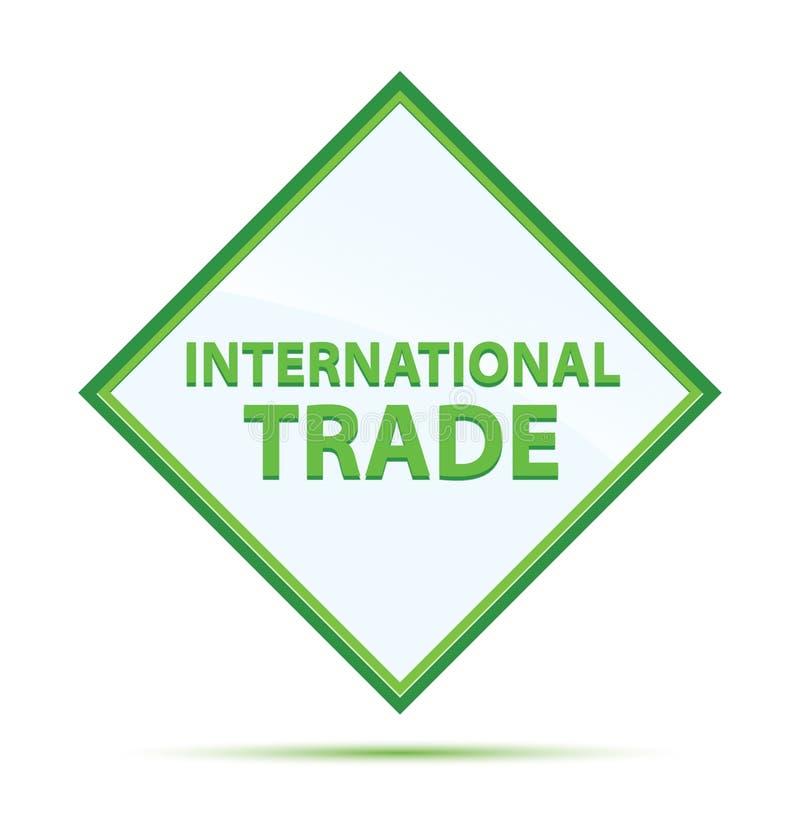 Bottone moderno del diamante di verde dell'estratto del commercio internazionale illustrazione di stock