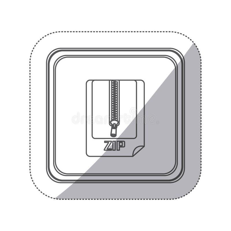 bottone monocromatico del quadrato della siluetta dell'autoadesivo con lo strato con lo zip royalty illustrazione gratis