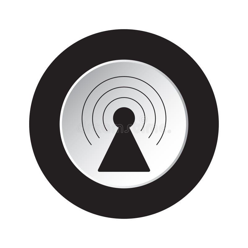 Bottone nero e bianco rotondo - icona della torre del trasmettitore illustrazione vettoriale