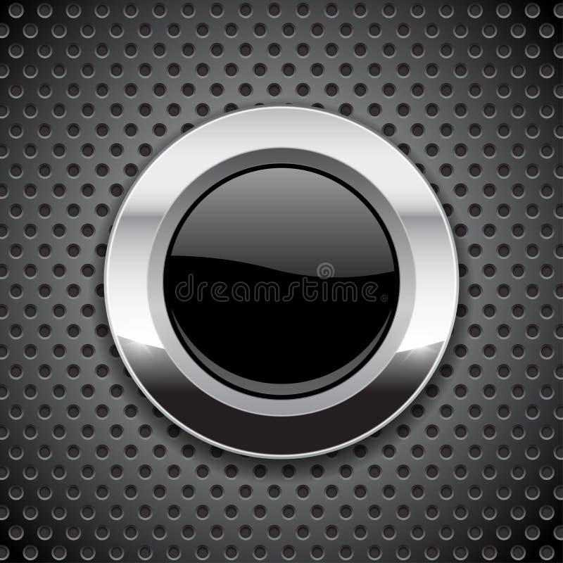 Bottone nero sul fondo perforato del metallo Icona di vetro rotonda con la struttura del cromo illustrazione di stock