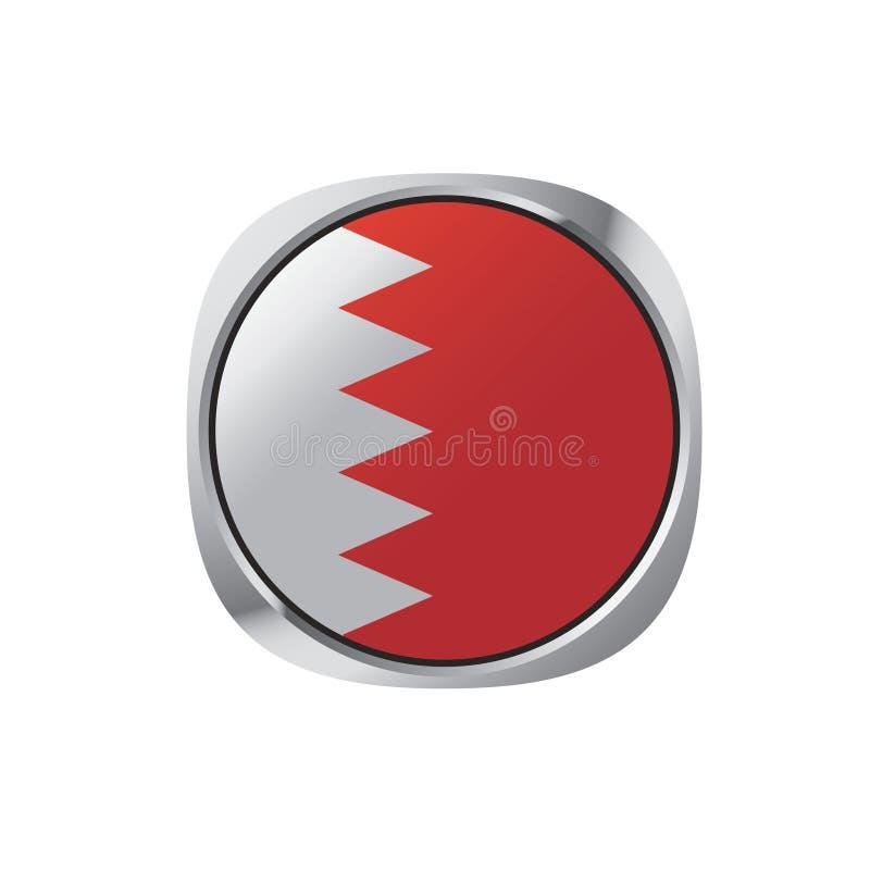 Bottone o icona della bandiera del Bahrain illustrazione di stock