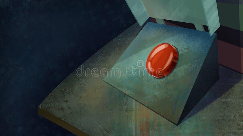 Bottone pericoloso rosso su una Tabella illustrazione vettoriale