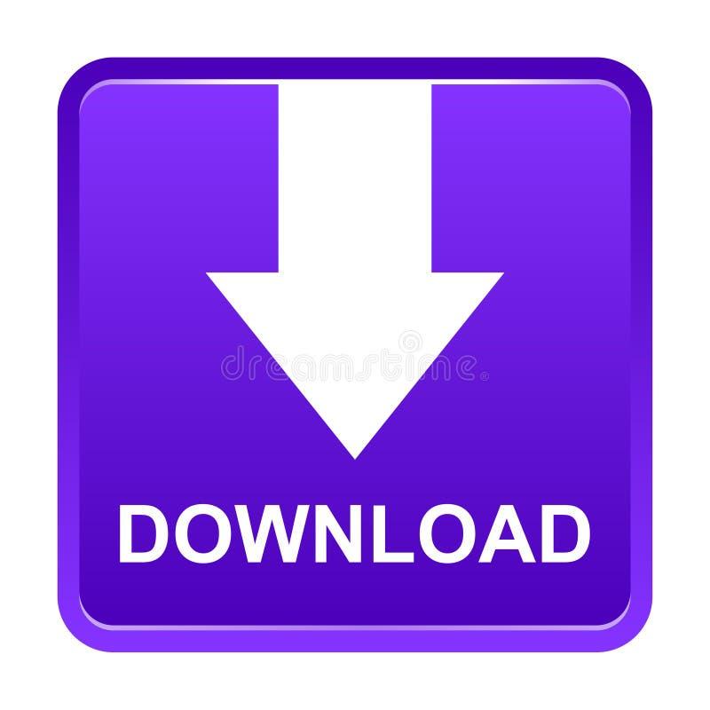 Bottone porpora del quadrato di download di vettore con la freccia illustrazione vettoriale