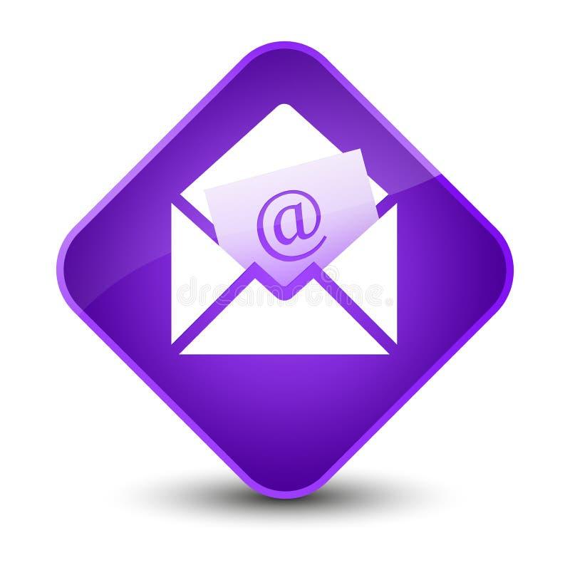 Bottone porpora elegante del diamante dell'icona del email del bollettino illustrazione vettoriale