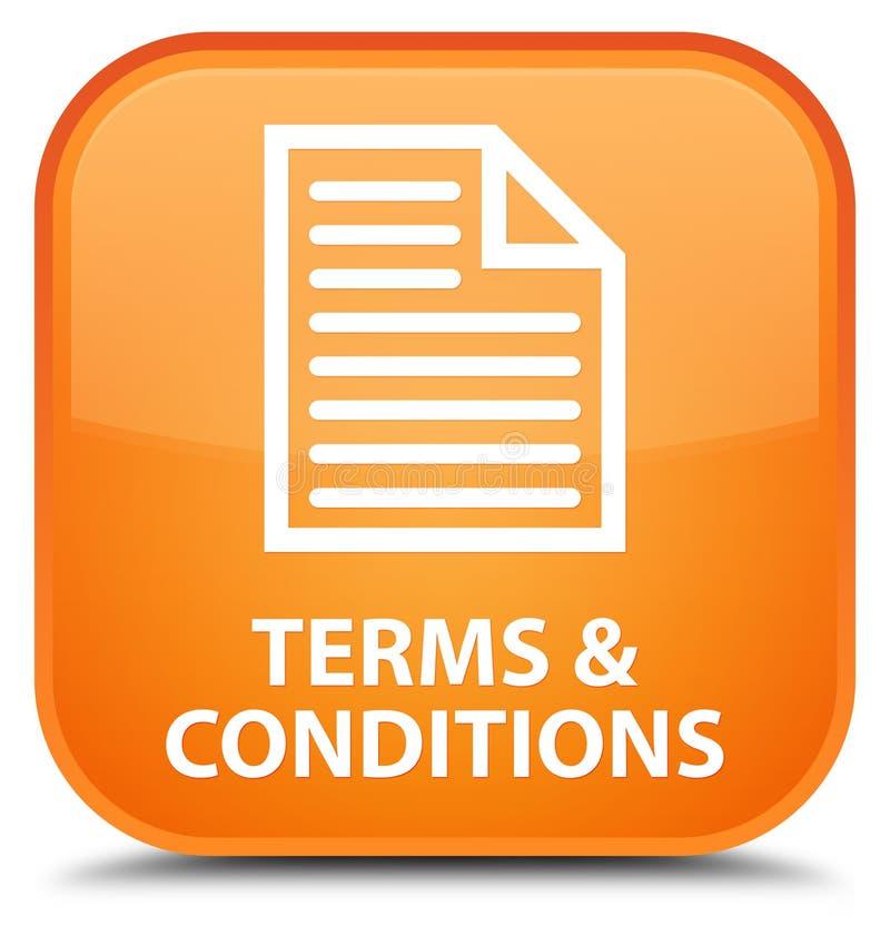 Bottone quadrato arancio speciale di termini e condizioni generali (icona della pagina) illustrazione vettoriale