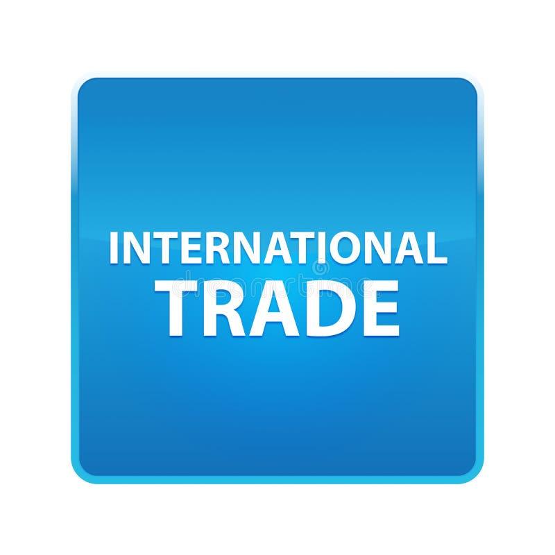 Bottone quadrato blu brillante del commercio internazionale royalty illustrazione gratis